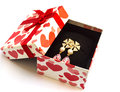 Earring in gift box on white background Royalty Free Stock Images