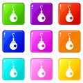 Earring icons 9 set