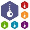 Earring icons set hexagon