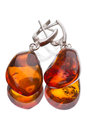 Earrings with amber Royalty Free Stock Photo