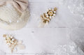 Earrings handmade jewelry with lace wedding veil Royalty Free Stock Photo