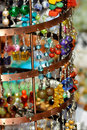 Earrings on a market stall Royalty Free Stock Image