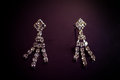 Earrings with precious stones look beautiful Stock Photo