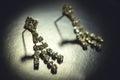Earrings with precious stones look beautiful Stock Photos