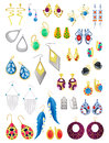 Earrings a set of isolated on white background jewelery and imitation jewelery Stock Photography