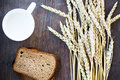 Ears of Wheat, Bread and Milk on Wooden Background as Breakfast Royalty Free Stock Photo