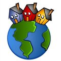 Earth With 3 Houses Clip Art Royalty Free Stock Images