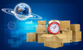 Earth and alarm clock on cardboard boxes Royalty Free Stock Photo