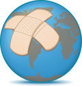 Earth with Bandage Stock Photo