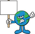 Earth Cartoon Mascot Character Protesting Royalty Free Stock Photos