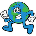 Earth Cartoon Mascot Character Running Royalty Free Stock Photo