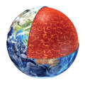 Earth cross section upper mantle version showing the made by plastic magnesium iron aluminum silicon and oxygen temperature Stock Images