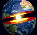 Earth cut away with visible iron core Royalty Free Stock Photography