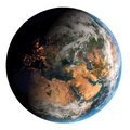 Earth with dark side and city lights planet on white background Stock Photo
