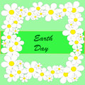 Earth day background abstract with flowers on the green phone Stock Photo
