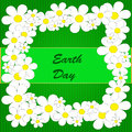 Earth day background abstract with flowers on the green phone with strips Stock Photo