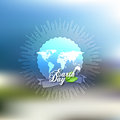 Earth Day background with the words, world map and green leaves. Blurred design vector illustration Royalty Free Stock Photo