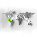 Earth Day background with the words, world map and green leaves. Watercolor design vector illustration Royalty Free Stock Photo