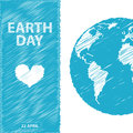 Earth Day in blue colors. Vector illustration. Pencil drawing ef Royalty Free Stock Photo
