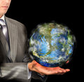Earth day businessperson and globe ecology concept Royalty Free Stock Photo