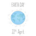 Earth Day card with planet and clouds. Vector illustration Royalty Free Stock Photo