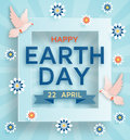 Earth Day cute background with doves