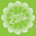 Earth Day Eco Green Vector Design. Circle Organic Trees