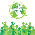 Earth day elements with globe and peoples Stock Photography