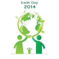 Earth day elements with globe and peoples Stock Photos