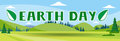 Earth Day Holiday Nature Summer Landscape Banner Flat Vector Illustration Royalty Free Stock Photo