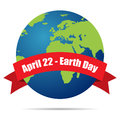 Earth day holiday poster with shadow on white background