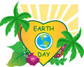 Earth day icon inside a heart shape and nature around it eps Stock Image
