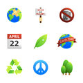 Earth day icons a set of promoting Stock Photo