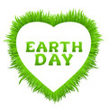 Earth day inscription with heart frame made of grass on white. Happy Earth Day greeting card.