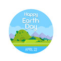 Earth Day Nature Summer Landscape Round Banner Royalty Free Stock Photo