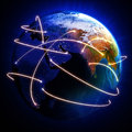 Earth with day and night view with global connecting lines Royalty Free Stock Photo
