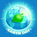 Earth Day Poster. Eco friendly ecology design concept with a planet and a leaf