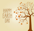 Earth Day poster with tree and handwritten text
