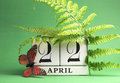 Earth Day, save the date white block calendar, April 22 - green theme. Royalty Free Stock Images