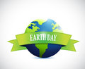 Earth day sign banner illustration design over a white background Royalty Free Stock Image