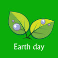 Earth day sign two leave on the green background as Royalty Free Stock Photography