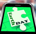 Earth day smartphone means eco friendly and green meaning Stock Image