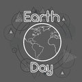 Earth Day World Globe Over Triangle Geometric Background Royalty Free Stock Photo
