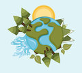 Earth design over blue background vector illustration Stock Photos