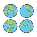 Earth drawing on white background. World map or globe in doodles style. Global drawing Earth day.