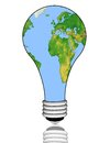Earth in an electric light bulb on a white background illustration Stock Image