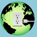 EARTH electric plug outlet Energy Globe Royalty Free Stock Image
