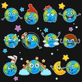 Earth emoji smiles of planet cartoon emoticons with different expressions vector isoalted icons set Royalty Free Stock Photo