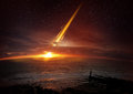 Earth extinction event a six mile kilometre wide meteor seconds before impacting Royalty Free Stock Image