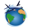 Earth globe and airplane air plane international world Royalty Free Stock Photo